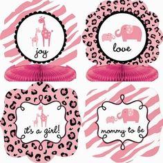 baby shower room decorations   Sweet Safari Baby Shower Girl 10-piece Room Decorating Kit