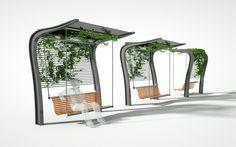 Architecture Concept Drawings, Landscape Architecture Design, Urban Furniture, Street Furniture, Bus Stop Design, Public Space Design, Shade Structure, Parking Design, Urban Planning