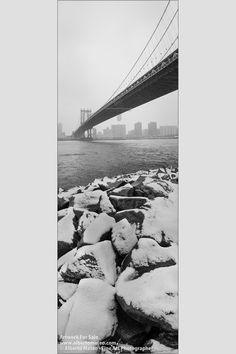 Snow under the Manhattan Bridge, New York.