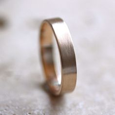 Mens' Gold Wedding Band, Unisex 4mm Brushed Flat 14k Recycled Yellow Gold Wedding Ring Gold Ring -  Made in Your Size. $417.00, via Etsy.