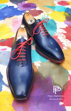 PAUL PARKMAN MEN'S GOODYEAR WELTED WHOLECUT OXFORDS NAVY BLUE HAND-PAINTED…
