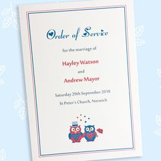 The Owl design order of service contains details of the wedding ceremony. The order of events card has an itinerary for the wedding day for guests. Wedding Order Of Events, Wedding Ceremony, Wedding Day, Sitting In A Tree, Two Brides, Order Of Service, Thank You Messages, Smudging, Wedding Stationery