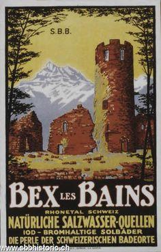Bex-les-Bains: Rhonetal Schweiz. Natürliche Salzwasser-Quellen. Jod-Bromhaltige Solbäder. Die Perle der schweizerischen Badeorte
