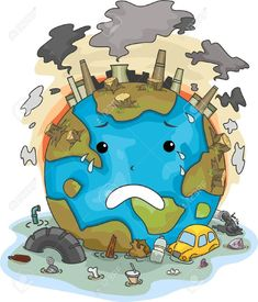 Illustration Of Crying Earth Due To Pollution Stock Photo, Picture And Royalty Free Image.