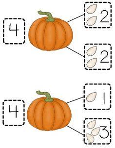 Pumpkin Number Bonds #'s4-6. Math center, student book, and teacher cards.
