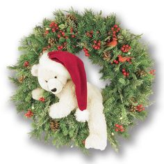 Christmas baubles, dolls decorated as Christmas wreath picture Wreath decoration with Christmas baubles and dolls photo Green leaf wreath. Polar Bear Christmas, Noel Christmas, All Things Christmas, Xmas, Christmas Ornaments, Christmas Ideas, Christmas Wreaths With Lights, Decoration Christmas, Holiday Wreaths