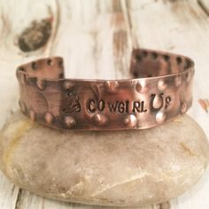 Cowgirl Hand Stamped Copper Cuff  Cowgirl Up  by FarrarCreations, $34.00