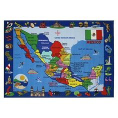 Fun Rugs Fun Time FT-131 Map of Mexico Area Rug - Multicolor - FT-131 5376 #KidsRugs