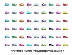 Instant download printable Running Sneakers Stickers made for Erin Condren, Filofax or any planner, calendar or journal. This listing is for