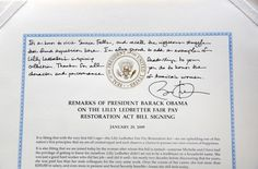 President Barack Obama's inscription on his Lilly Ledbetter Fair Pay Restoration Act Bill