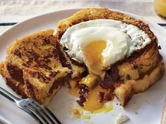 Anne Burrell's French Toast Stuffed with Bacon, Onion Tomato Jam with Gruyere, and a Fried Egg