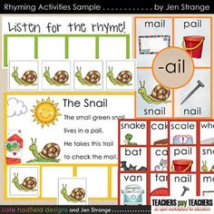 This sample of my Rhyming Games and Activities has several examples of what the full set of 10 resources offers.  %0A%0AThe theme of this sample is SNAIL and the -ail word family.  Included in the sample are:%0A%0A1.  1 rhyming words poster (from the set of 10.)%0A2.  1 poem with Elkonin box format for rhymes (from the set of 10), as well as a listening mat and manipulatives.%0A3.  9 playing card pairs (from the deck of 124 cards / 62 pairs.  All the sample pairs are A vowels)%0A%0AAbout the…