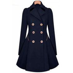 Fashionable Turn-Down Collar Long Sleeve Double-Breasted Coat For Women - $35.11