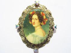 Germany Portrait Brooch Aurora Borealis Rhinestones Vintage