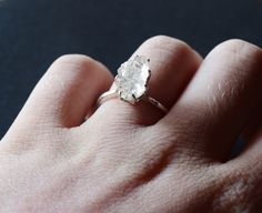 Hey, I found this really awesome Etsy listing at https://www.etsy.com/listing/204237221/raw-diamond-ring-sterling-silver