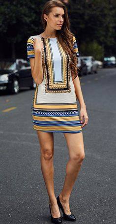 Printed Short Sleeve Mini Dress