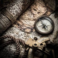 vintage still life with compass,sextant and old map. Stock Photo - 32110066
