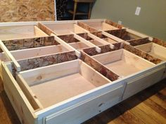 Best queen storage bedframe, new, pine, 7 Drawer —