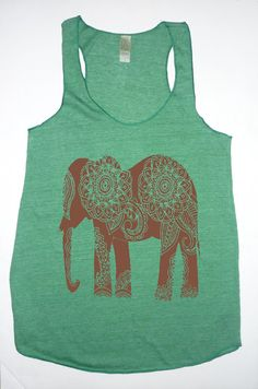 NEW Paisley ELEPHANT Tri Blend Tank Top Alternative Apparel 4 Colors Small Medium Large XLarge Racerback on Etsy, $20.00