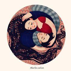 """""""Desenhei-nos a rir, e desenhei o seu abraço. Pensei: dentro do coração há sempre um abraço. Passei a viver sobretudo dentro do coração, como numa casa que não pode ir-se embora"""" ♥️🏠 #valterhugomae #diadosnamorados Wedding Illustration, Family Illustration, Illustration Art, Illustrations, Yin Yang, Art Drawings For Kids, Cute Drawings, Couple Sketch, Cute Love Cartoons"""