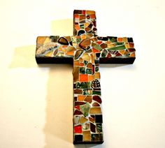 Stone and Stained Glass Mosaic Cross Wall Hanging - Red Stone Focal - Earth Tones