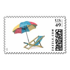 Beach Chair and Umbrella Stamps