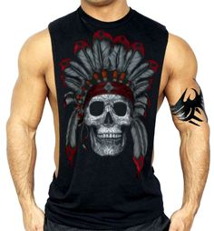 e910b6d4cef06d Indian Sugar Skull Workout Vest Tank Top Shirt Native American Day Of Dead  Workout Tank Tops
