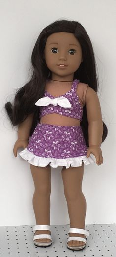 18 doll purple and white flowered retro style bathing