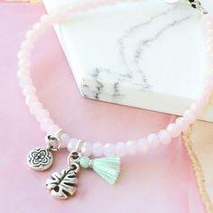 Farbenfrohen Schmuck in zarten rose und grünen Tönen Facett Perlen