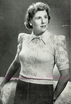A Feather-weight blouse, c. late 1930s (Sun-Glo Knitting Book 41, for Matrons) – Subversive Femme