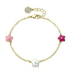 Little Miss Twin Stars Outfit Makers Pink 14k Gold-Plated Oval Bangle with Multi Color Hearts /& CZ Lines