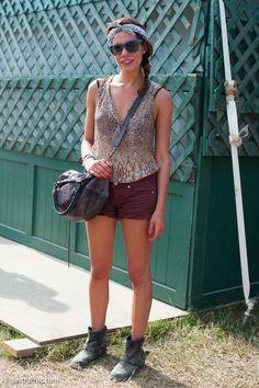 Silk Print Top and Denim Shorts, Bonnaroo