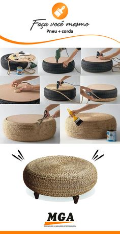 Home Diy Decor - New ideas Diy Crafts For Home Decor, Diy Crafts Hacks, Rope Crafts, Easy Home Decor, Home Decor Bedroom, Diy Room Decor, Diy Para A Casa, Diy Casa, Tire Furniture