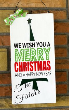 """9 1/4x 19"""" Wooden Handpainted Sign We Wish You Merry Christmas Sign Vertical WIth Personalized Family Name"""