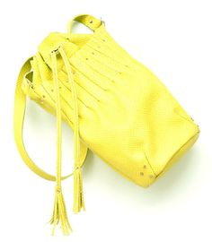 Etsy find: neon yellow leather bucket bag