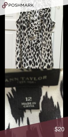 Ann Taylor ruffled blouse Great blouse ruffled accent and great animal print. Dress up or down - great look Ann Taylor Tops Blouses