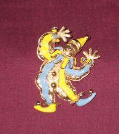 Vintage Signed NAPIER Gold-Tone Metal Yellow & Blue Enamel Clown Pin Brooch #NAPIER