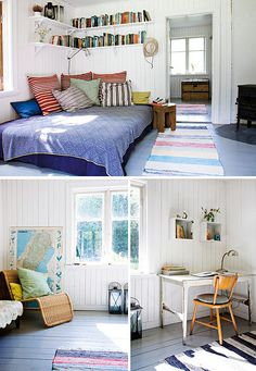 swedish cottage by the style files, via Flickr. i love the book shelves on tongue and groove walls above a corner bed