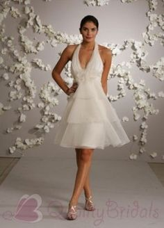 Prom Dresses Glamorous A Line Halter Short Mini Knee Length Organza Wedding Dress , You will find many long prom dresses and gowns from the top formal dress designers and all the dresses are custom made with high quality Mini Wedding Dresses, Wedding Dress Organza, Wedding Dress Styles, Bridal Dresses, Bridesmaid Dresses, Ivory Dresses, Dresses Uk, Stylish Dresses, Elegant Dresses