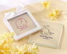 """Personalized Glass Coasters with Baby Designs - Favors by Kate Aspen  