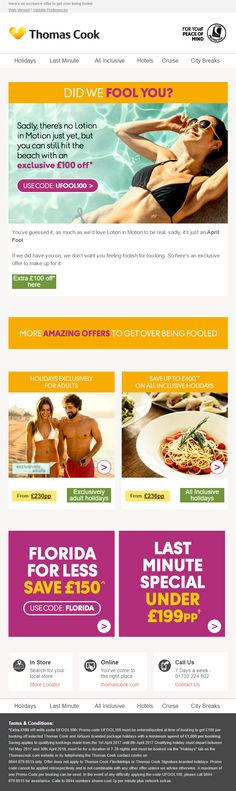 Follw up April Fools Day Email from Thomas Cook with discount and coupon code #EmailMarketing #Email #Marketing #AprilFoolsDay #Travel #Holidays #April #Fools #Day #1stApril