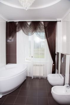 Chocolate and white curtains for the bathroom. #windowtreatments