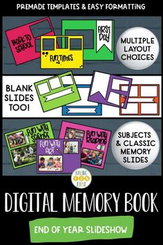 Celebrate the end of the school year with this exciting and memorable digital end of the year memory book! With over 87 unique frames, 170 customizable frames, clip art personalized to grade level & year, & much more, this memory book will help students remember the school year together. Create a unique & digital keepsake with students during the end of year while also keeping students engaged! Learn more, see the previews, & grab yours now! 5th Grade Activities, End Of Year Activities, Summer Activities, Class Presentation, Fiction And Nonfiction, Memory Books, Fun Math, Learning Resources, Distance