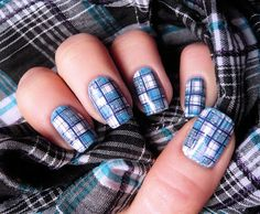 Pretty blue plaid nail art