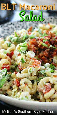 Side Salad Recipes, Salad Dressing Recipes, Pasta Salad Recipes, Side Dish Recipes, Salad Dressings, Blt Macaroni Salad, Recipe For Macaroni Salad, Blt Salad, Shake