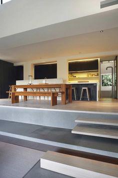 Großraumgestaltungen für Wohnzimmer in Singapur - minimalistisches Esszimmer