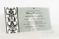 Make your invitation more personalised by adding your photo. The photo is covered by vellum which has all the event details printed on it. This idea can be adapted to all other styles of invitations. Different flocked paper patterns available.