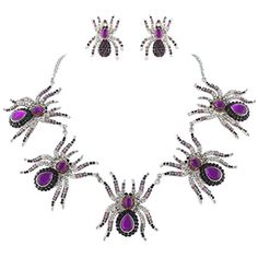 EVER FAITH Halloween Spider Necklace Earrings Set Purple Austrian Crystal Silver-Tone http://www.amazon.com/dp/B00O8NF744/ref=cm_sw_r_pi_dp_ZOjUvb0MQ3WNT