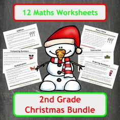 12 Christmas themed maths worksheets, covering a wide range of topics from addition to finding fractions of 2-digit numbers using word problems. In total 11 topics are covered in this bundle as two ordering numbers worksheets are included, each aimed at different level students.Includes both colour and black and white copies of each worksheet and each answer page!Suitable for Elementary school students (US) and Primary school students (UK).Inside you will find1 sheet of 6, Christmas themed…