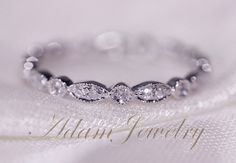 Full Eternity Band 14k White Gold Wedding Ring Pave Diamonds Engagement Ring/ Matching Band on Etsy, $299.00